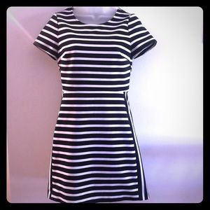 Navy Blue and White Striped Dress